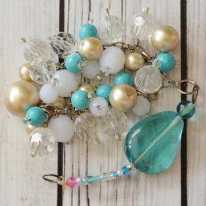 vintage chunky beaded toggle bracelet aqua white
